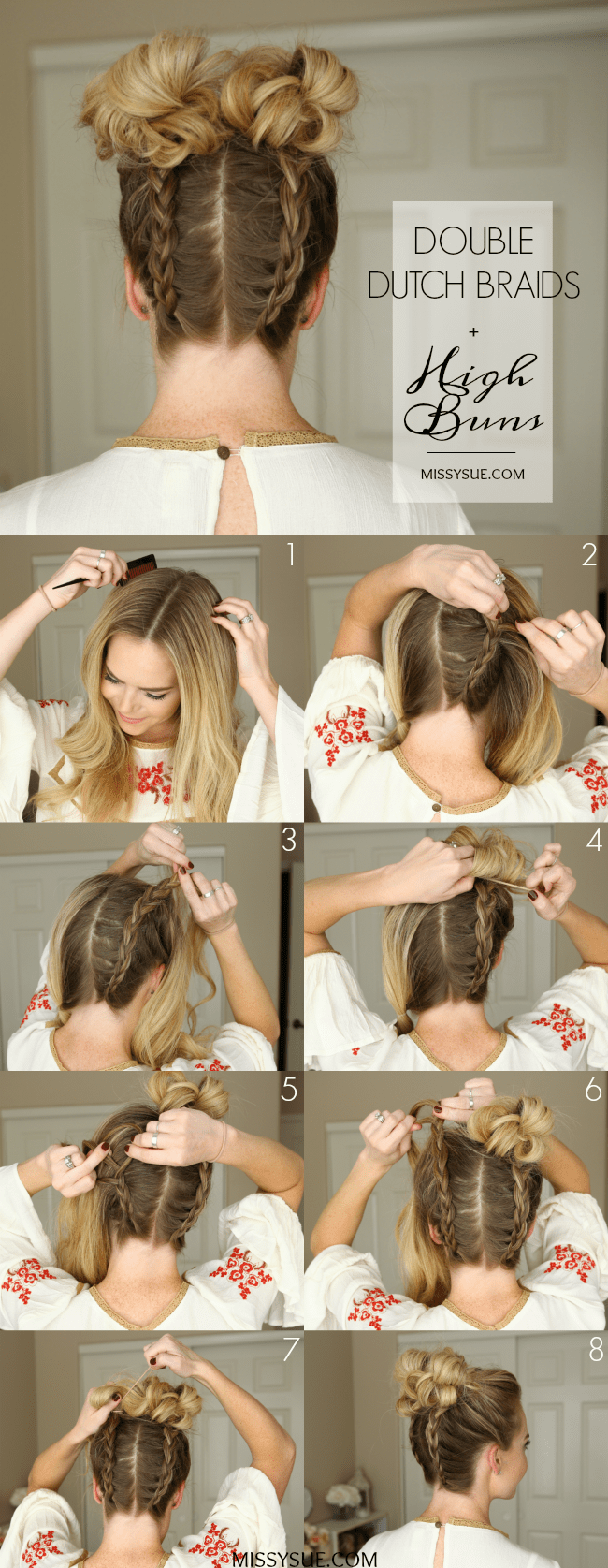 Double Dutch Braid High Buns Hair Tutorial