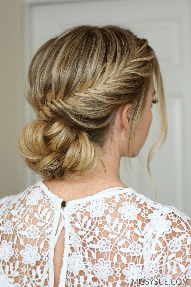 Fishtail french braid low bun missy sue for Fish tail hair