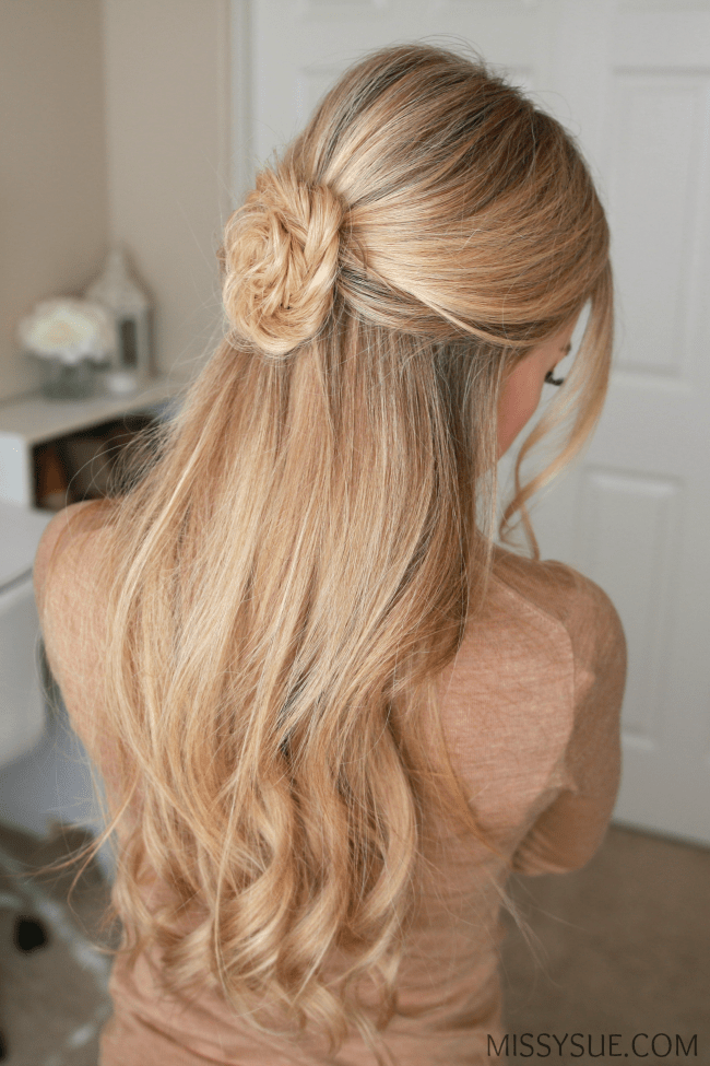 half-up-fishtail-flower-hairstyle