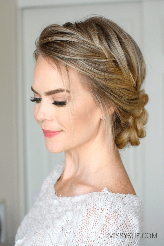French fishtail braid updo missy sue for Fish braid hairstyle