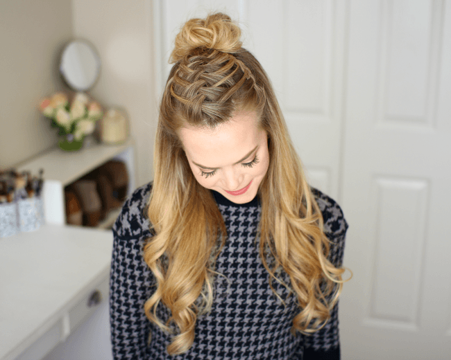 Triple French Braid Double Waterfall Mini Bun | Missy Sue - Hair Beauty