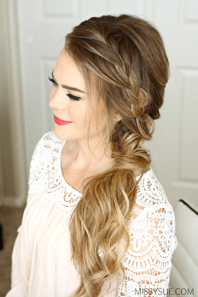 Braided Side Swept Prom Hairstyle Supplies