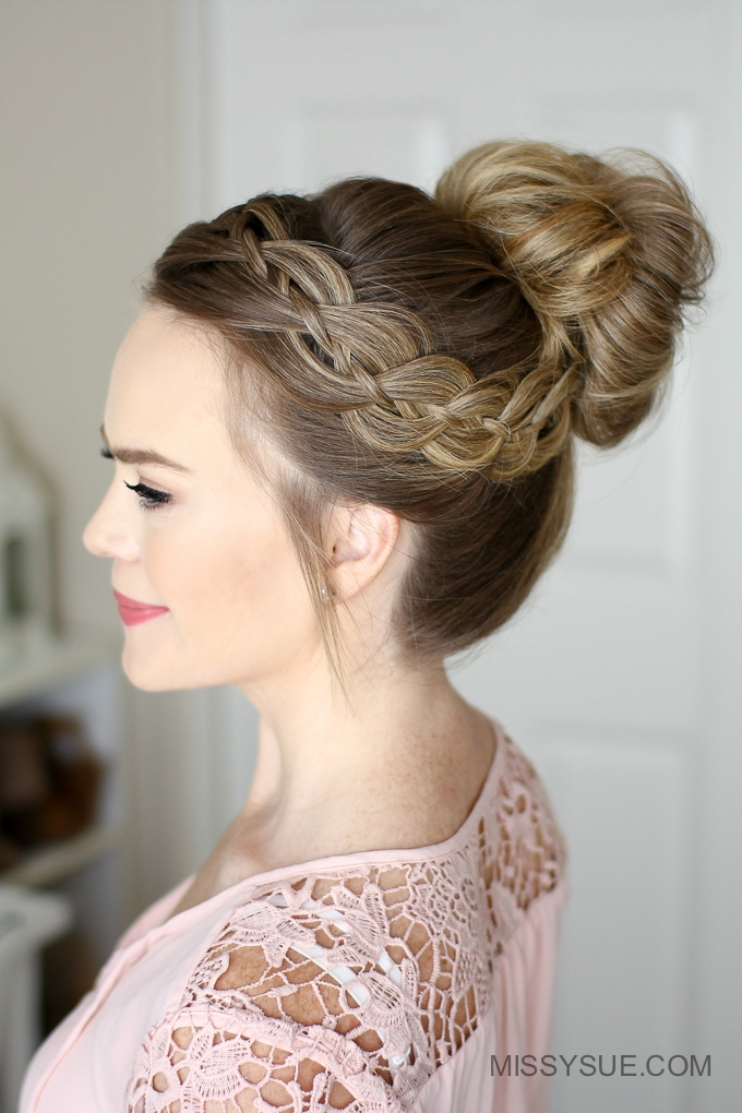 Four Strand Braid High Bun