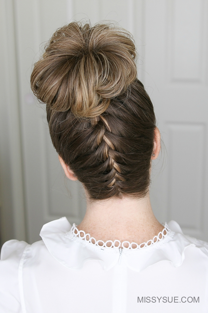 Upside Down French Braid High Bun