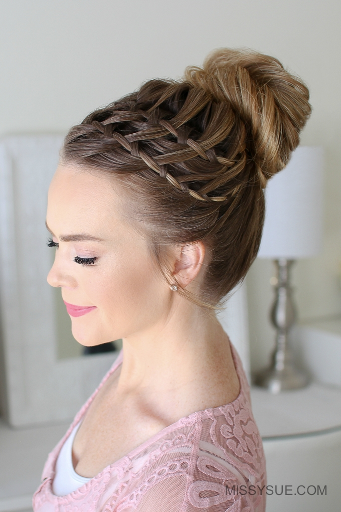 Double Waterfall Braid High Bun