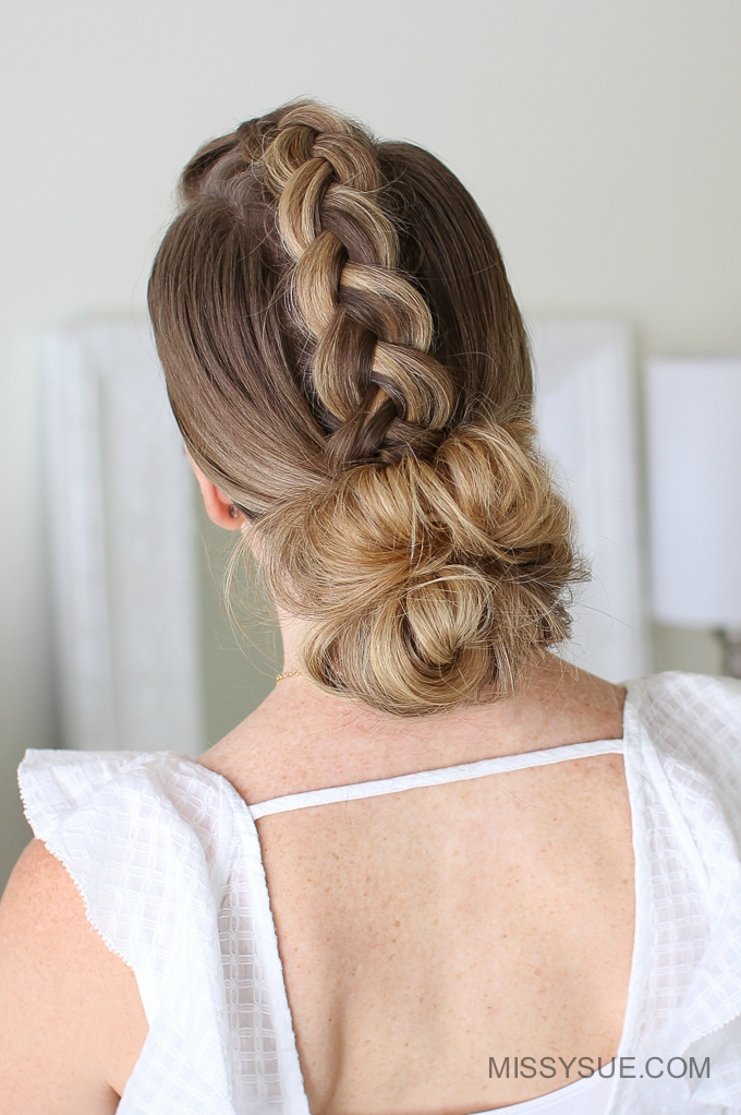 Mohawk Dutch Braid Low Bun