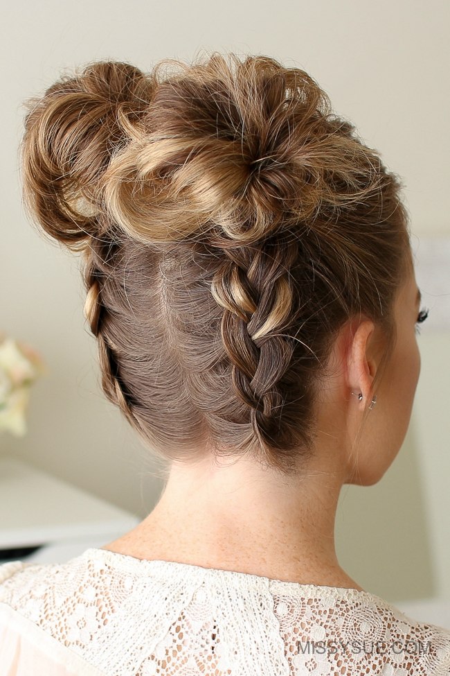 Double Dutch Braid High Buns