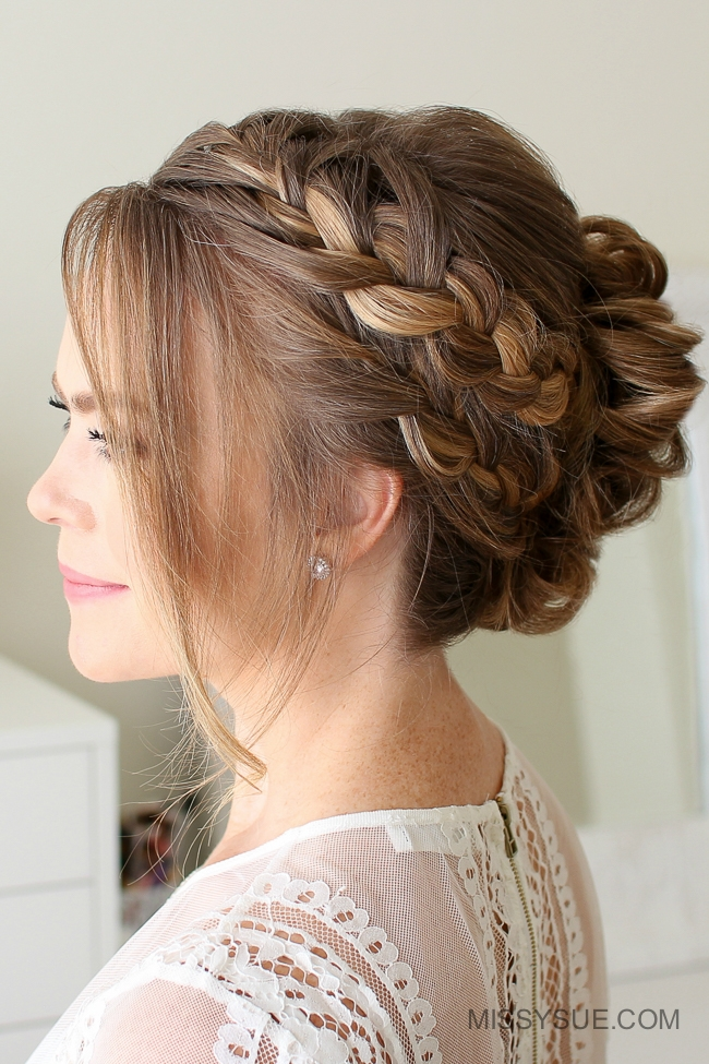 Double French Braid Mohawk Bun