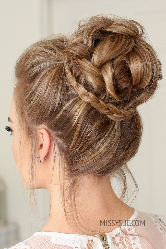 Mini Braid Wrapped High Bun