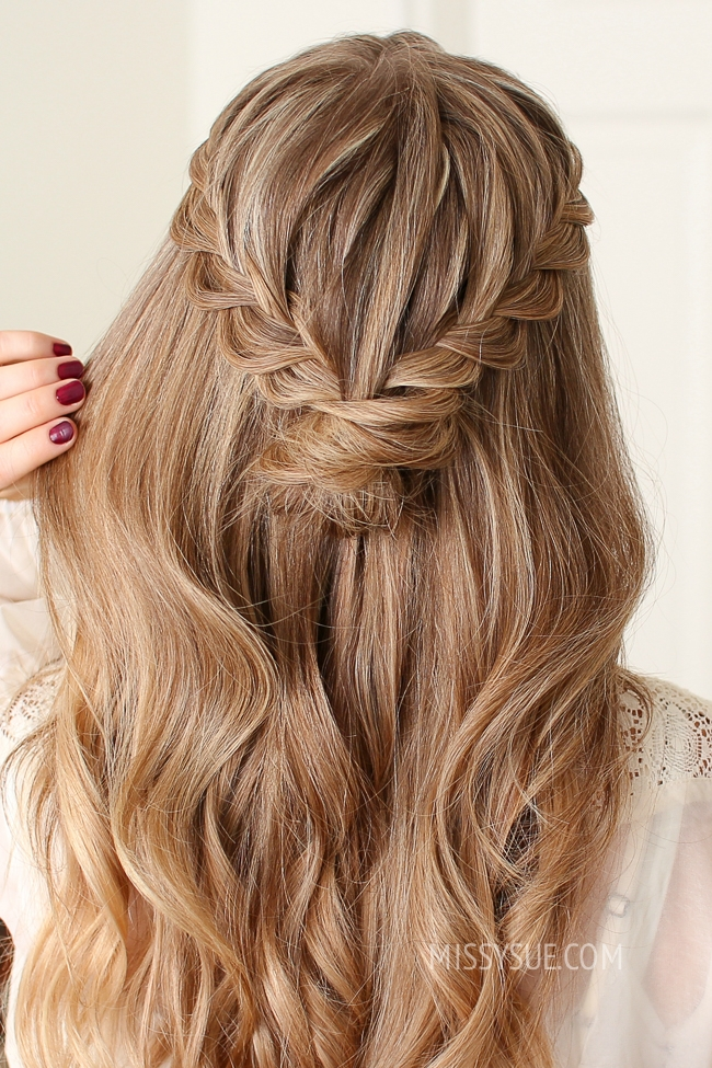 Half Up Lace Braid Mini Bun