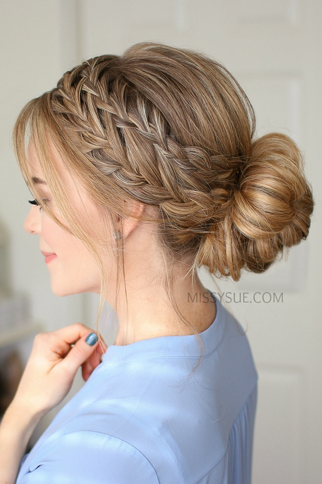 Waterfall French Braid Low Bun