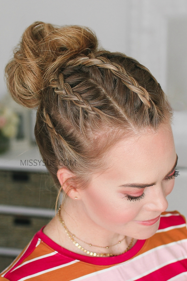 5 Dutch Braids High Bun