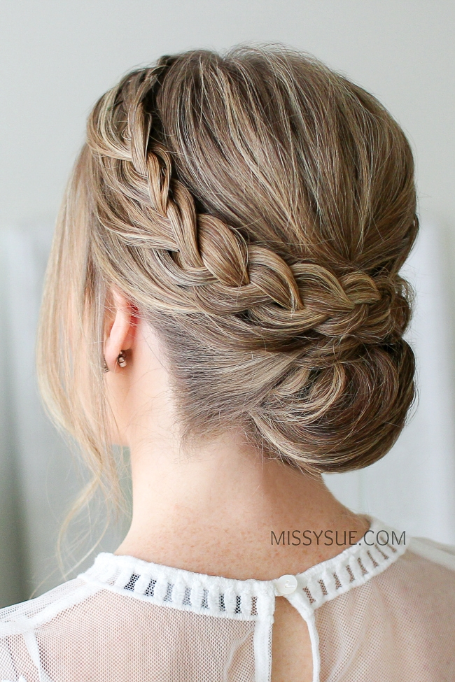 Double Braid Wrapped Roll Bun