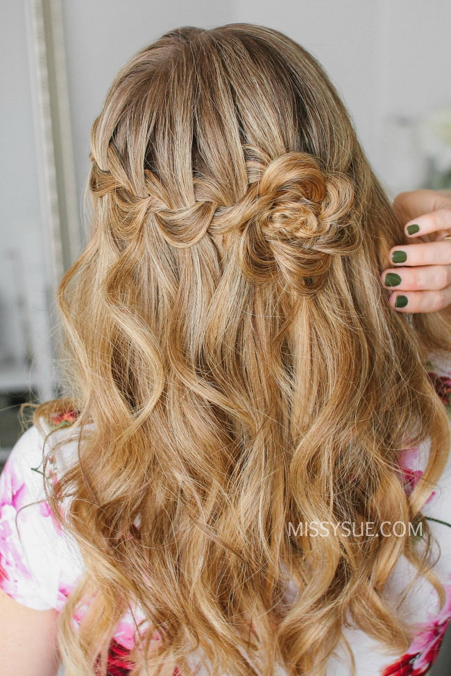 Waterfall Braid Wrapped Flower