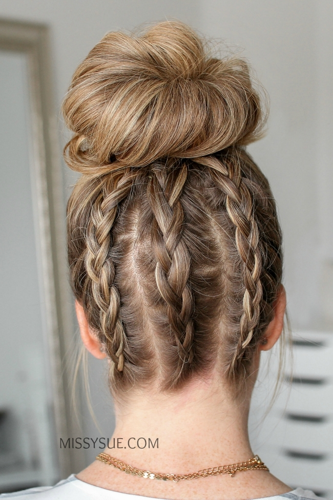 Three Dutch Braids High Bun