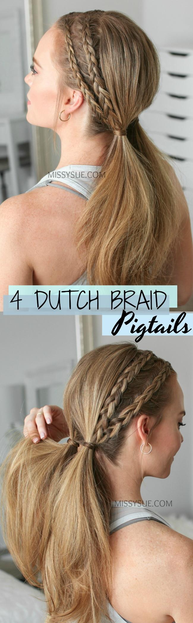 Four Dutch Braid Pigtails
